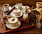 Various types of coffee, coffee beans and coffee powder