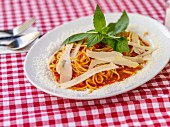 Spaghetti with tomato sauce and Parmesan cheese on a checked tablecloth
