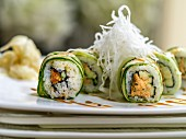 Cucumber maki with fried rice noodles