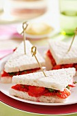 Sweet strawberry sandwiches