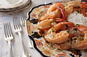 King prawns with herbs and rice on a Chinese porcelain plate