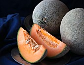 Cantelope melons, whole and in wedges