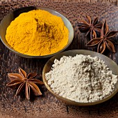 Turmeric powder, star anise and ginger powder