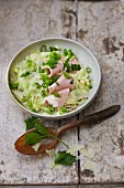 Sausage salad with fennel, pears and Parmesan cheese