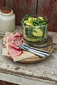 Potato and bean salad with a horseradish vinaigrette served with roast beef