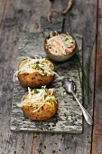 Jacket potatoes filled with coleslaw