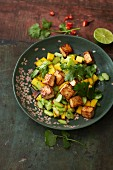 Spicy mango and cucumber salad with fried, diced tofu