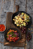 Gouda salad with grapes and bulgur salad ajvar