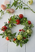 Hand-tied wreath of tomatoes and tomato branches