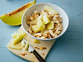 Oat muesli with Greek yoghurt and galia melon