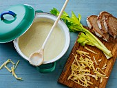 Creamy cheese soup with celery and celeriac