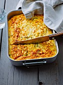 Vegetarian millet and courgette bake
