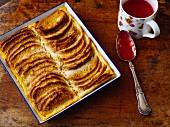 Quark Ofenschlupfer (baked layered apple dessert) with raspberry mousse