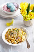 Pasta salad with egg, ham, sweetcorn, peppers, beansprouts and mayonnaise for Easter