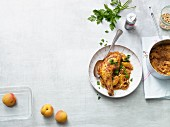 Chicken legs with spiced apricot cabbage (Paleo diet)
