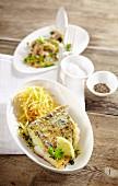Gebratenes Zanderfilet mit Champignon-Lauch-Gemüse