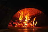 Neapolitan pizza in a wood-fired oven