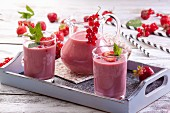 Strawberry and redcurrant smoothies