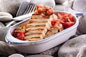 Grilled swordfish with tomatoes