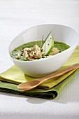 Cold cress soup with smoked mackerel and apple