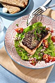 Salmon on a bed of grilled savoy cabbage with tomatoes and onions