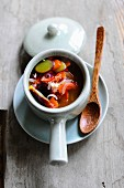 Chilli soup with damsons