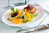 Peach, avocado and chicken salad