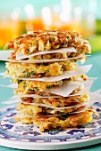 A stack of vegetable toast