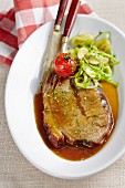 Braised beef with a parsnip and celery medley