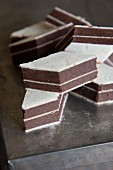 Layered chocolate and wafer cakes