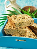 Sesame seed and coconut bread with herbs