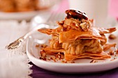 Date and chestnut millefeuille with nuts