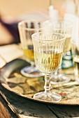 Glasses of chilled white wine