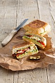 Panini with grilled vegetables and vegan cheese