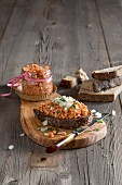 Vegan rice waffle spread with onions