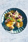 Sea bass ceviche with oranges and basil