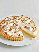 Lemon meringue tart, sliced