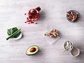 Superfoods: aloe vera, ginger, turmeric, pomegranate, avocado, coconut mousse and oil