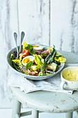 Vegetarian salad Niçoise with lime mayonnaise