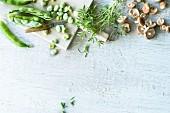 Broad beans, savory and shiitake mushrooms