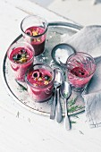 Cold beetroot soup with cherries and walnuts