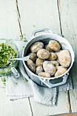 Canary salt potatoes with pea and gouda pesto