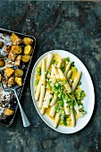 White asparagus with a passion fruit vinaigrette and curry potatoes