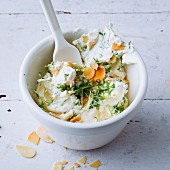 Vegetarian almond and cream cheese dip with yoghurt