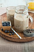 Blueberry and almond smoothie with bananas and flaxseeds