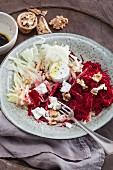 Raw beetroot with fennel and goat's cheese bites
