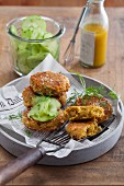 Quinoa and banana fritters with cucumber salad