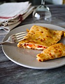 Breton buckwheat crepes filled with tomatoes and cheese