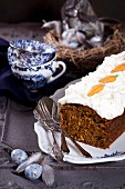 Coconut, walnut and carrot cake with coconut cream and coconut flour sugar for Easter
