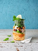 An Italian salad in a jar